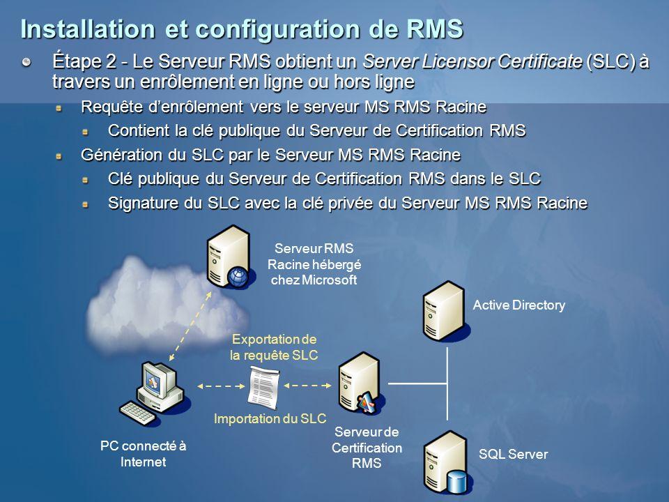 Installation et configuration de RMS Étape 2 - Le Serveur RMS obtient un Server Licensor Certificate (SLC) à travers un enrôlement en ligne ou hors li