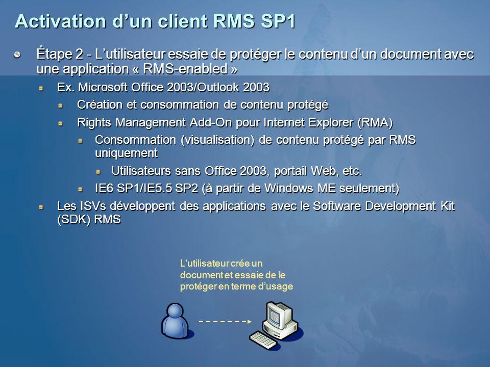 Activation dun client RMS SP1 Étape 2 - Lutilisateur essaie de protéger le contenu dun document avec une application « RMS-enabled » Ex. Microsoft Off