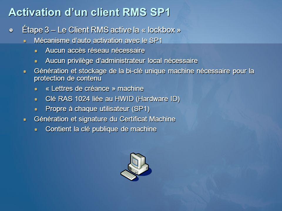 Activation dun client RMS SP1 Étape 3 – Le Client RMS active la « lockbox » Mécanisme dauto activation avec le SP1 Aucun accès réseau nécessaire Aucun