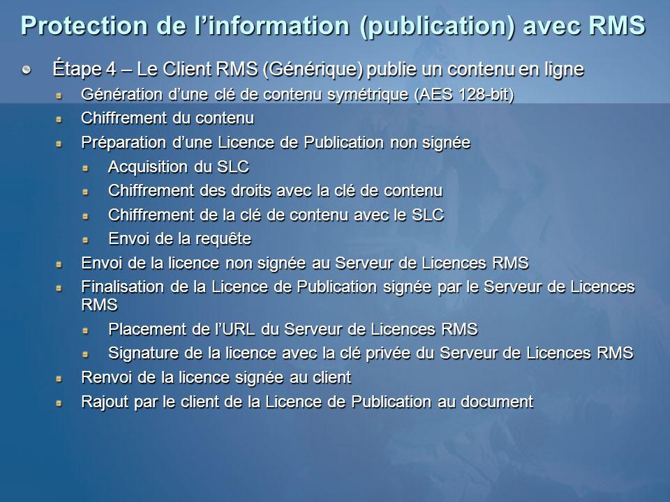 Protection de linformation (publication) avec RMS Étape 4 – Le Client RMS (Générique) publie un contenu en ligne Génération dune clé de contenu symétr