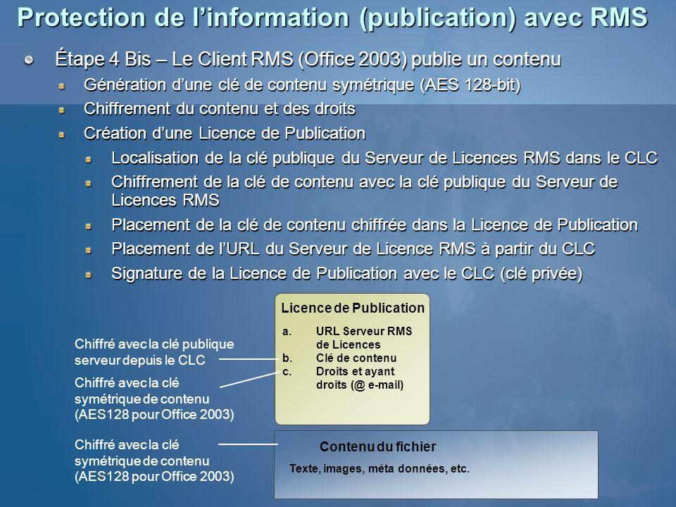 Protection de linformation (publication) avec RMS Étape 4 Bis – Le Client RMS (Office 2003) publie un contenu Génération dune clé de contenu symétriqu