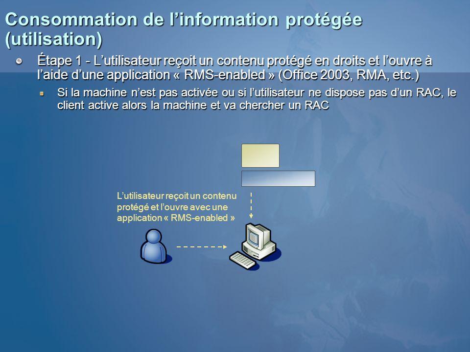 Consommation de linformation protégée (utilisation) Étape 1 - Lutilisateur reçoit un contenu protégé en droits et louvre à laide dune application « RM