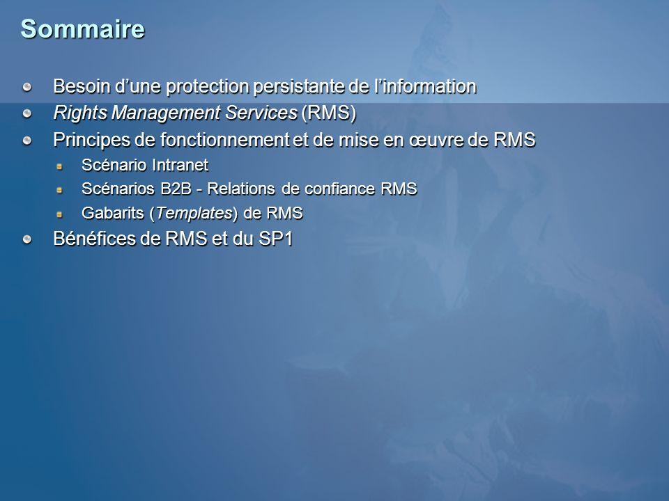Sommaire Besoin dune protection persistante de linformation Rights Management Services (RMS) Principes de fonctionnement et de mise en œuvre de RMS Sc