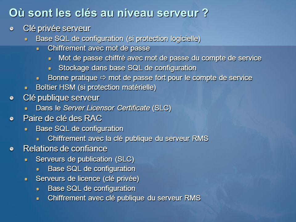 Où sont les clés au niveau serveur ? Clé privée serveur Base SQL de configuration (si protection logicielle) Chiffrement avec mot de passe Mot de pass