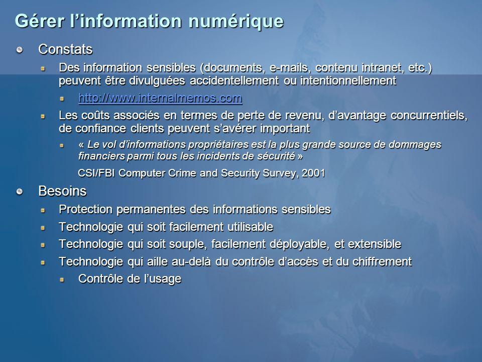 Gérer linformation numérique Constats Des information sensibles (documents, e-mails, contenu intranet, etc.) peuvent être divulguées accidentellement