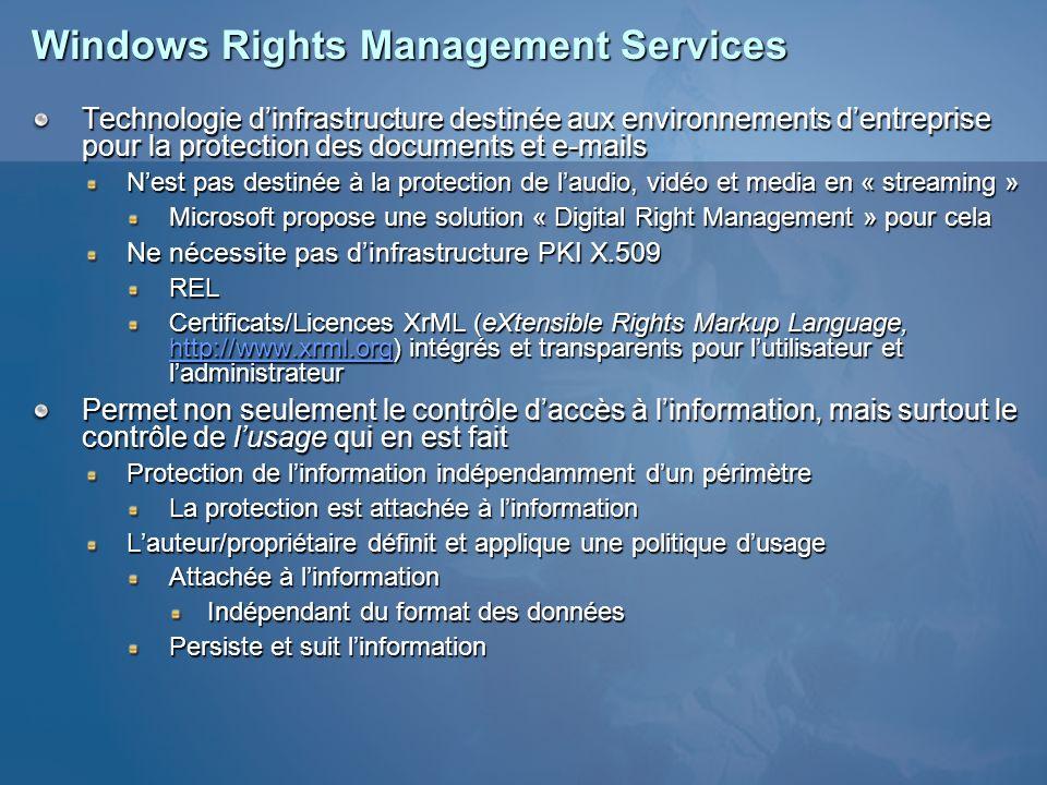 Windows Rights Management Services Technologie dinfrastructure destinée aux environnements dentreprise pour la protection des documents et e-mails Nes