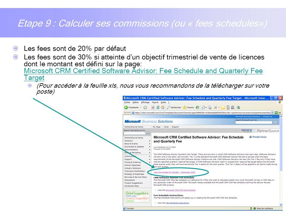 14 Etape 9 : Calculer ses commissions (ou « fees schedules») Les fees sont de 20% par défaut Les fees sont de 30% si atteinte dun objectif trimestriel