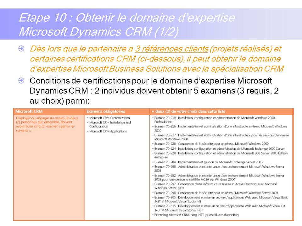 15 Etape 10 : Obtenir le domaine dexpertise Microsoft Dynamics CRM (1/2) Dès lors que le partenaire a 3 références clients (projets réalisés) et certa