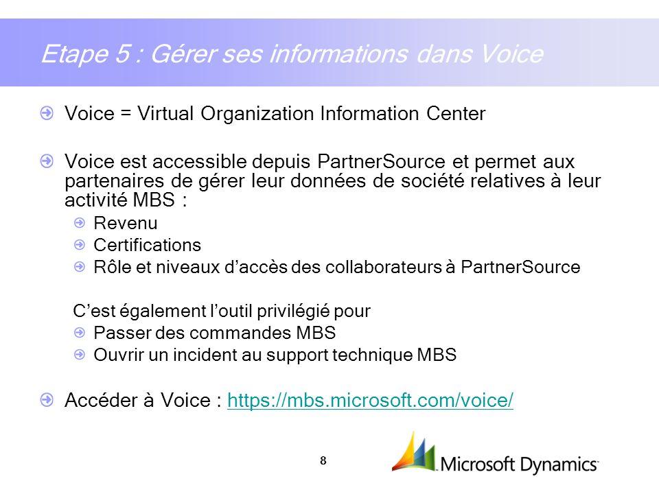 8 Etape 5 : Gérer ses informations dans Voice Voice = Virtual Organization Information Center Voice est accessible depuis PartnerSource et permet aux