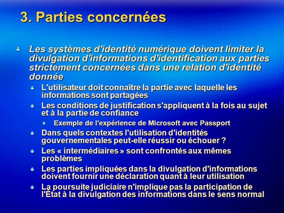 3. Parties concernées Les systèmes d'identité numérique doivent limiter la divulgation d'informations d'identification aux parties strictement concern