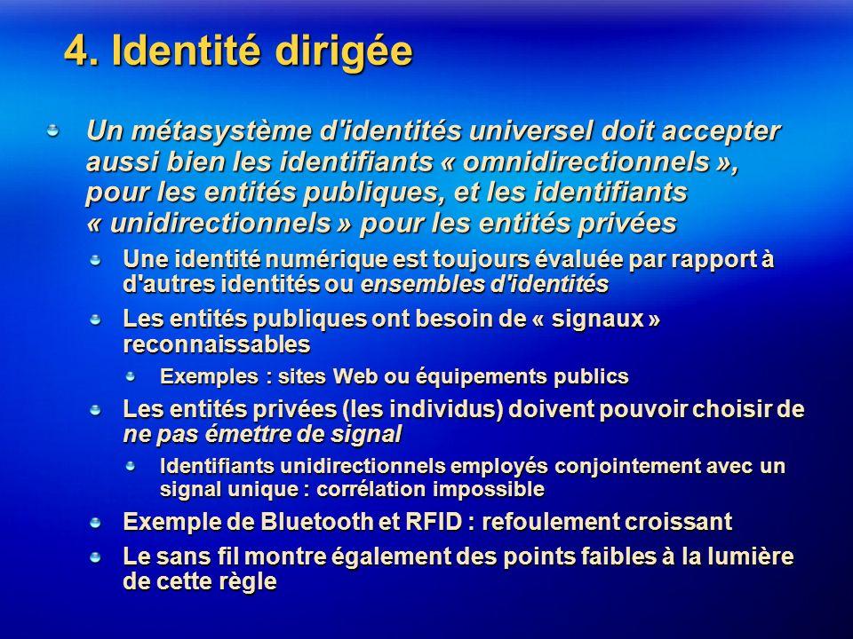 4. Identité dirigée Un métasystème d'identités universel doit accepter aussi bien les identifiants « omnidirectionnels », pour les entités publiques,