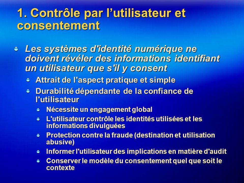 1. Contrôle par lutilisateur et consentement Les systèmes d'identité numérique ne doivent révéler des informations identifiant un utilisateur que s'il