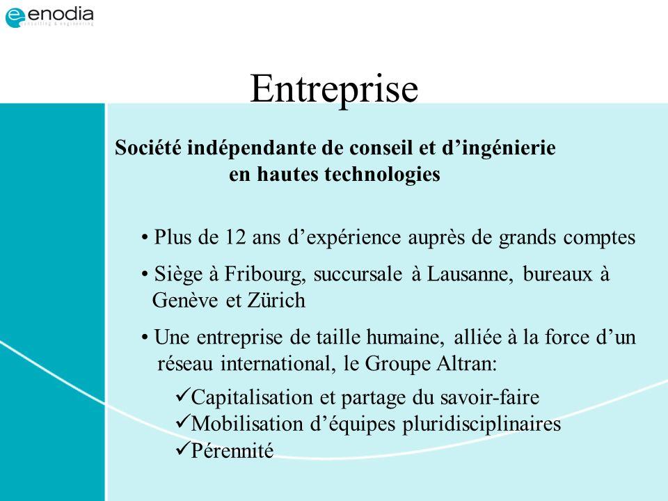 Entreprise Siège à Fribourg, succursale à Lausanne, bureaux à Genève et Zürich Société indépendante de conseil et dingénierie en hautes technologies P
