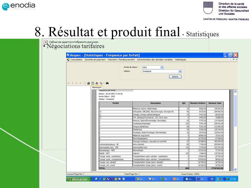 8. Résultat et produit final - Statistiques Négociations tarifaires