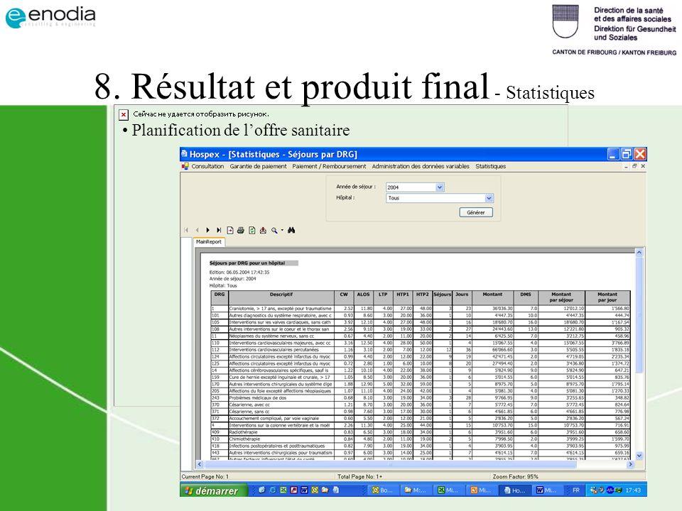 8. Résultat et produit final - Statistiques Planification de loffre sanitaire