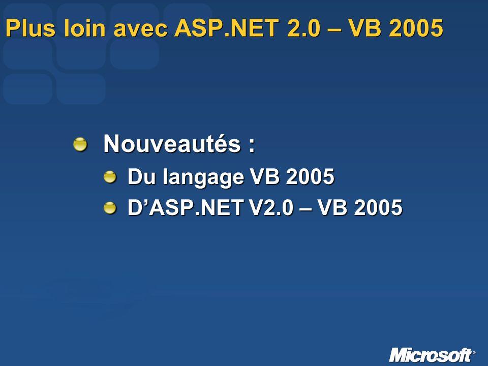 Plus loin avec ASP.NET 2.0 – VB 2005 Nouveautés : Du langage VB 2005 DASP.NET V2.0 – VB 2005