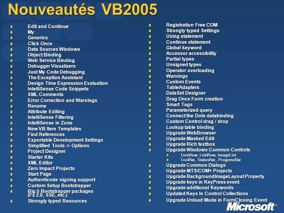 Nouveautés VB2005 Edit and Continue MyGenerics Click Once Data Sources Windows Object Binding Web Service Binding Debugger Visualizers Just My Code Debugging The Exception Assistant Design Time Expression Evaluation IntelliSense Code Snippets XML Comments Error Correction and Warnings Rename Attribute Editing IntelliSense Filtering IntelliSense in Zone New VB Item Templates Find References Exportable Development Settings Simplified Tools -> Options Project Designer Starter Kits XML Editor Zero Impact Projects Start Page Authenticode signing support Custom Setup Bootstrapper Big 5 Bootstrapper packages (Fx 2.0, SSE, etc.) Strongly typed Resources Registration Free COM Strongly typed Settings Using statement Continue statement Global keyword Accessor accessibility Partial types Unsigned types Operator overloading Warnings Custom Events TableAdapters DataSet Designer Drag Once Form creation Smart Tags Parameterized query Connect the Dots databinding Custom Control drag / drop Lookup table binding Upgrade WebBrowser Upgrade Masked Edit Upgrade Rich textbox Upgrade Windows Common Controls TreeView, ListView, ImageList ToolBar, StatusBar, ProgressBar Upgrade Common Dialogs Upgrade MTS/COM+ Projects Upgrade BackgroundImageLayout Property Upgrade keys in KeyPress event Upgrade additional Keywords Updated Keys In Control Collections Upgrade Unload Mode in FormClosing Event