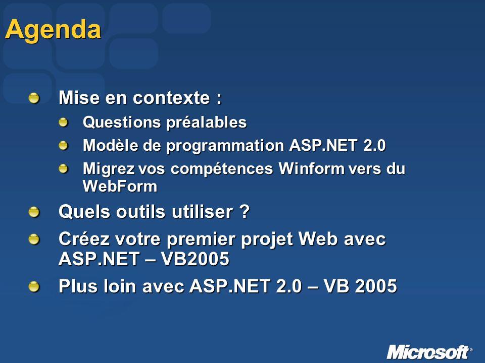 Agenda Mise en contexte : Questions préalables Modèle de programmation ASP.NET 2.0 Migrez vos compétences Winform vers du WebForm Quels outils utiliser .