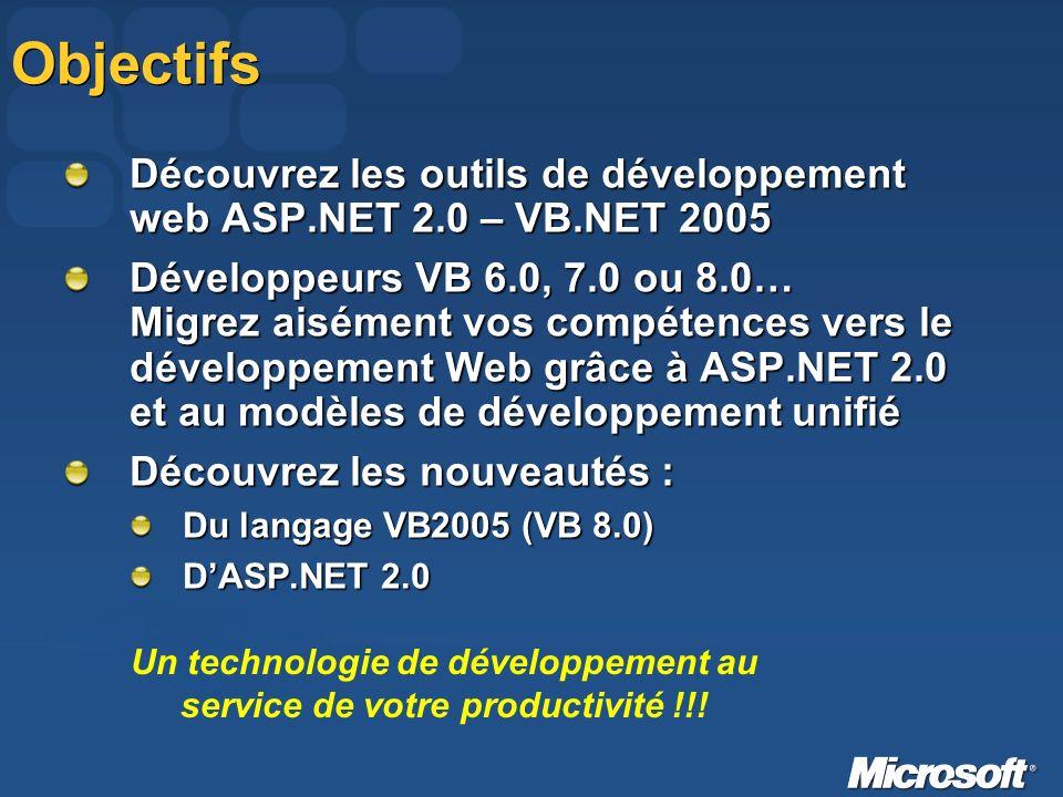 Objectifs Découvrez les outils de développement web ASP.NET 2.0 – VB.NET 2005 Développeurs VB 6.0, 7.0 ou 8.0… Migrez aisément vos compétences vers le développement Web grâce à ASP.NET 2.0 et au modèles de développement unifié Découvrez les nouveautés : Du langage VB2005 (VB 8.0) DASP.NET 2.0 Un technologie de développement au service de votre productivité !!!