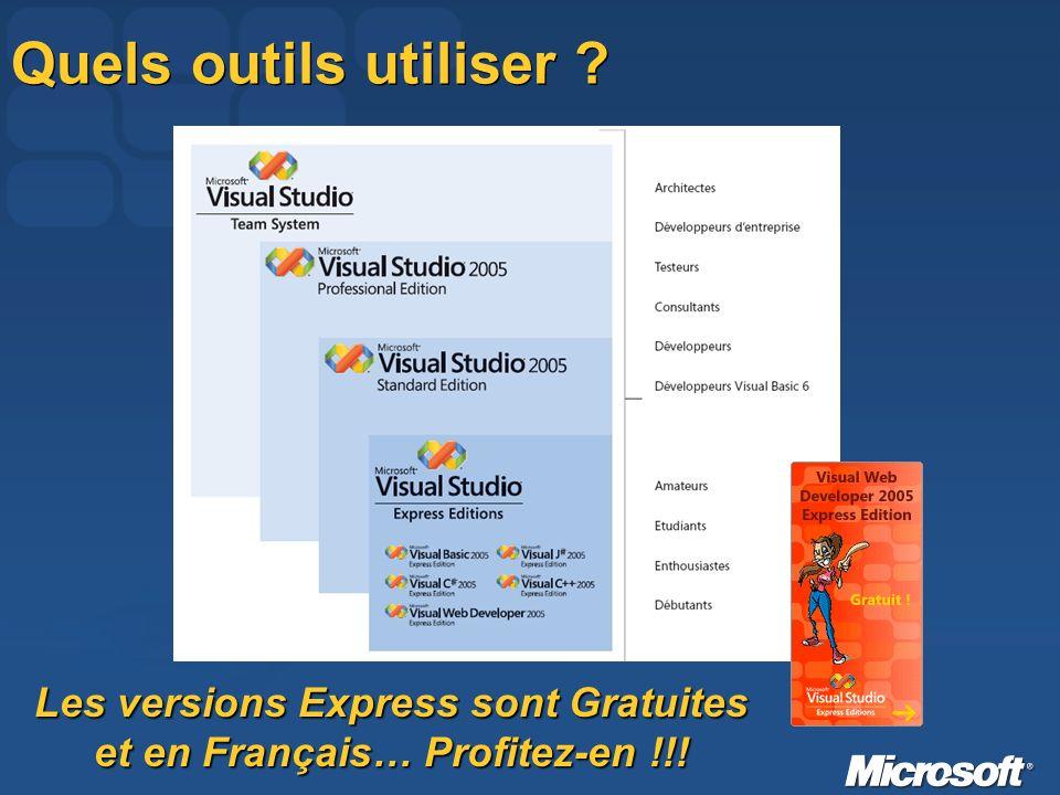 Quels outils utiliser Les versions Express sont Gratuites et en Français… Profitez-en !!!