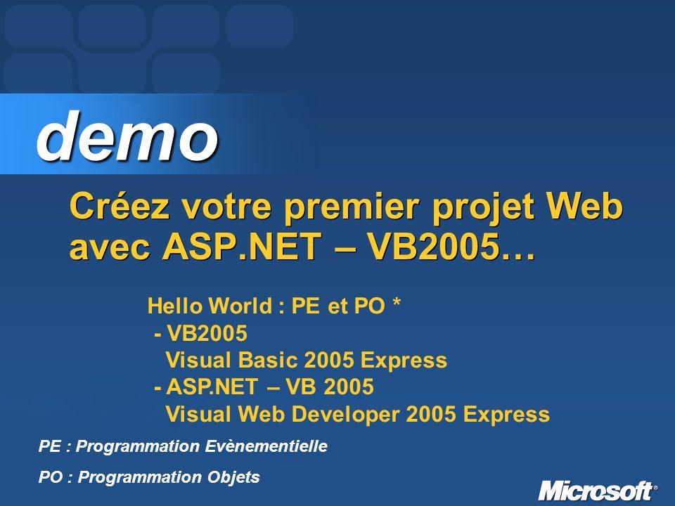 Créez votre premier projet Web avec ASP.NET – VB2005… demo demo PE : Programmation Evènementielle PO : Programmation Objets Hello World : PE et PO * - VB2005 Visual Basic 2005 Express - ASP.NET – VB 2005 Visual Web Developer 2005 Express