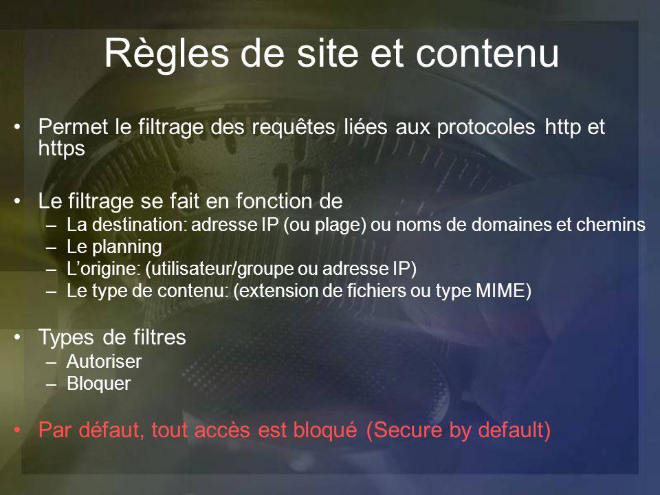 Permet le filtrage des requêtes liées aux protocoles http et https Le filtrage se fait en fonction de –La destination: adresse IP (ou plage) ou noms d
