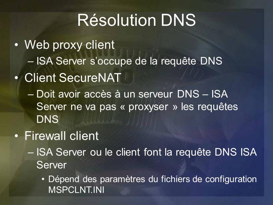 Résolution DNS Web proxy client –ISA Server soccupe de la requête DNS Client SecureNAT –Doit avoir accès à un serveur DNS – ISA Server ne va pas « pro
