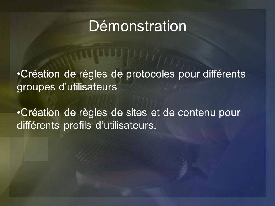 Création de règles de protocoles pour différents groupes dutilisateurs Création de règles de sites et de contenu pour différents profils dutilisateurs