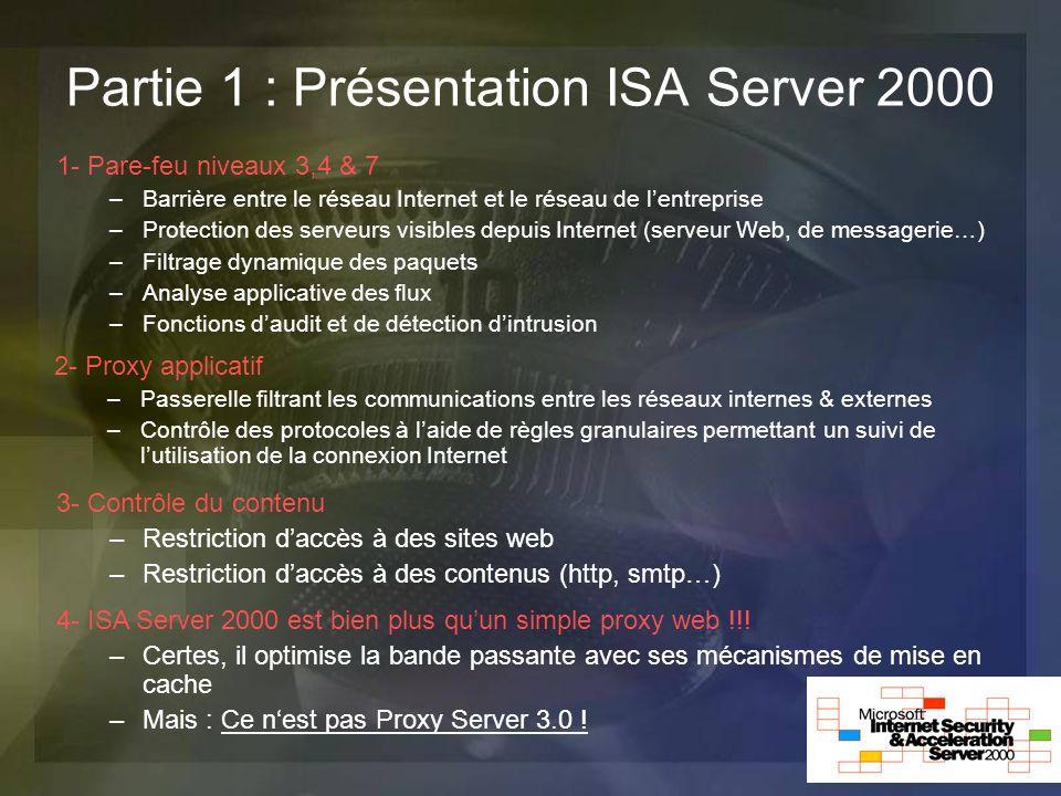 Partie 1 : Présentation ISA Server 2000 1- Pare-feu niveaux 3,4 & 7 –Barrière entre le réseau Internet et le réseau de lentreprise –Protection des ser