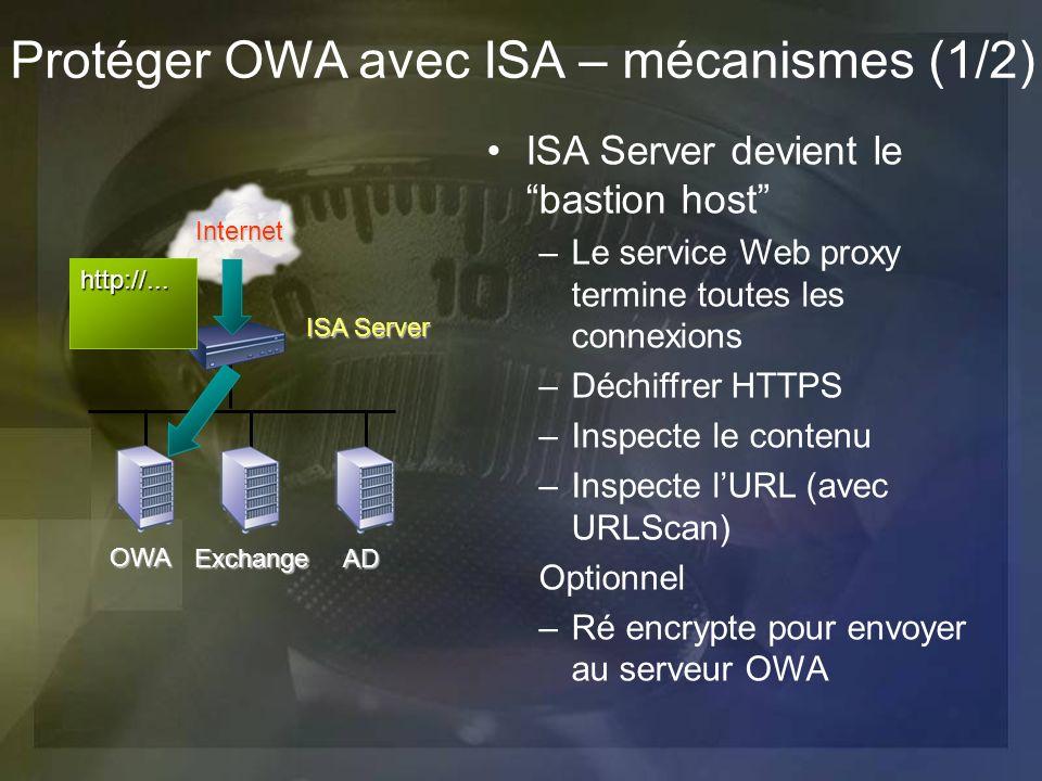 Protéger OWA avec ISA – mécanismes (1/2) ISA Server devient le bastion host –Le service Web proxy termine toutes les connexions –Déchiffrer HTTPS –Ins