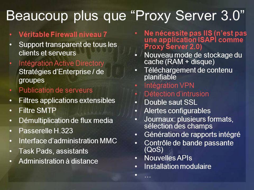 Beaucoup plus que Proxy Server 3.0 Véritable Firewall niveau 7 Support transparent de tous les clients et serveurs Intégration Active Directory Straté