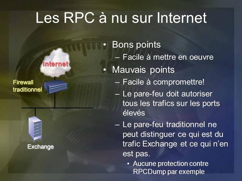 Les RPC à nu sur Internet Bons points –Facile à mettre en oeuvre Mauvais points –Facile à compromettre! –Le pare-feu doit autoriser tous les trafics s