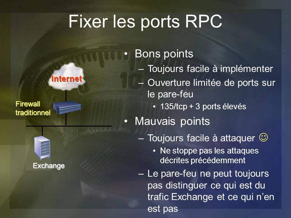 Fixer les ports RPC Bons points –Toujours facile à implémenter –Ouverture limitée de ports sur le pare-feu 135/tcp + 3 ports élevés Mauvais points –To