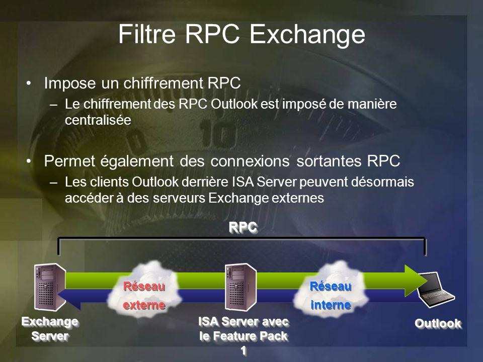 Exchange Server OutlookOutlook RPCRPC Réseau interne Réseau interne Réseau externe Réseau externe Filtre RPC Exchange Impose un chiffrement RPC –Le ch