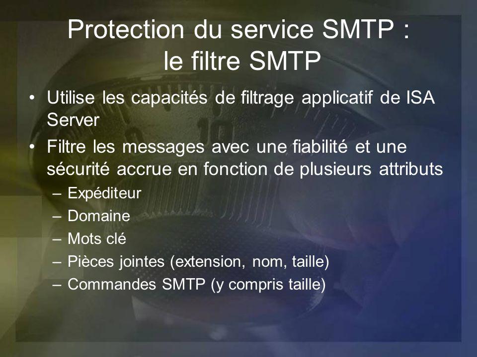 Protection du service SMTP : le filtre SMTP Utilise les capacités de filtrage applicatif de ISA Server Filtre les messages avec une fiabilité et une s