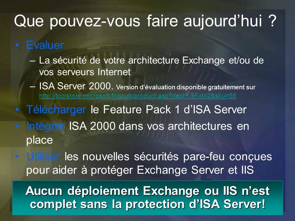 Aucun déploiement Exchange ou IIS nest complet sans la protection dISA Server! Evaluer –La sécurité de votre architecture Exchange et/ou de vos serveu