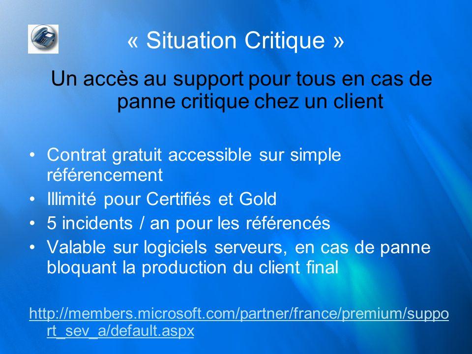 « Situation Critique » Un accès au support pour tous en cas de panne critique chez un client Contrat gratuit accessible sur simple référencement Illim