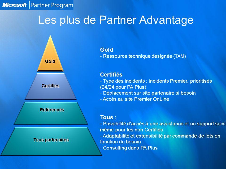 Les plus de Partner Advantage Référencés Certifiés Gold Tous partenaires Gold - - Ressource technique désignée ( TAM) Certifiés - - Type des incidents