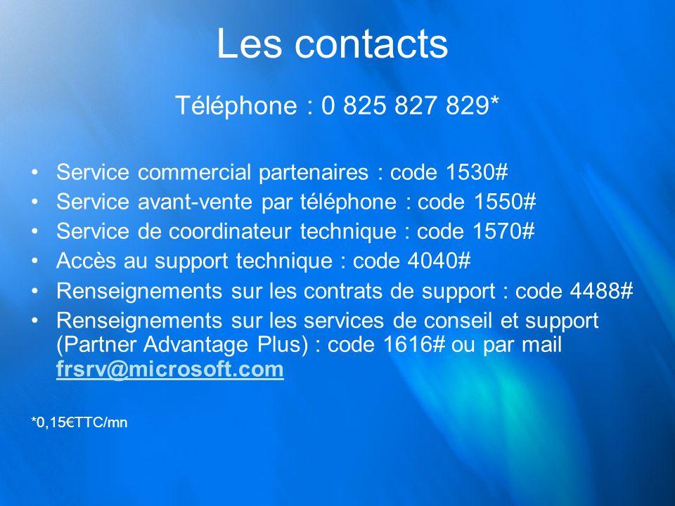 Les contacts Téléphone : 0 825 827 829* Service commercial partenaires : code 1530# Service avant-vente par téléphone : code 1550# Service de coordina