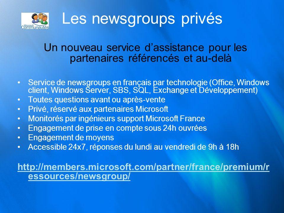Les newsgroups privés Un nouveau service dassistance pour les partenaires référencés et au-delà Service de newsgroups en français par technologie (Off