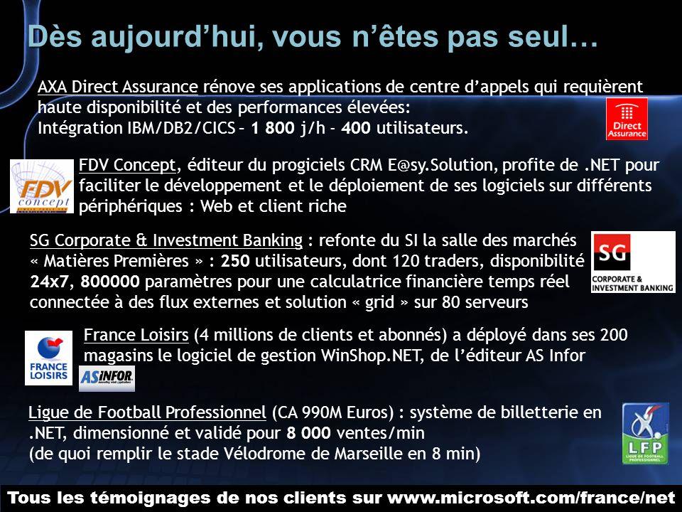 Ligue de Football Professionnel (CA 990M Euros) : système de billetterie en.NET, dimensionné et validé pour 8 000 ventes/min (de quoi remplir le stade Vélodrome de Marseille en 8 min) AXA Direct Assurance rénove ses applications de centre dappels qui requièrent haute disponibilité et des performances élevées: Intégration IBM/DB2/CICS – 1 800 j/h - 400 utilisateurs.