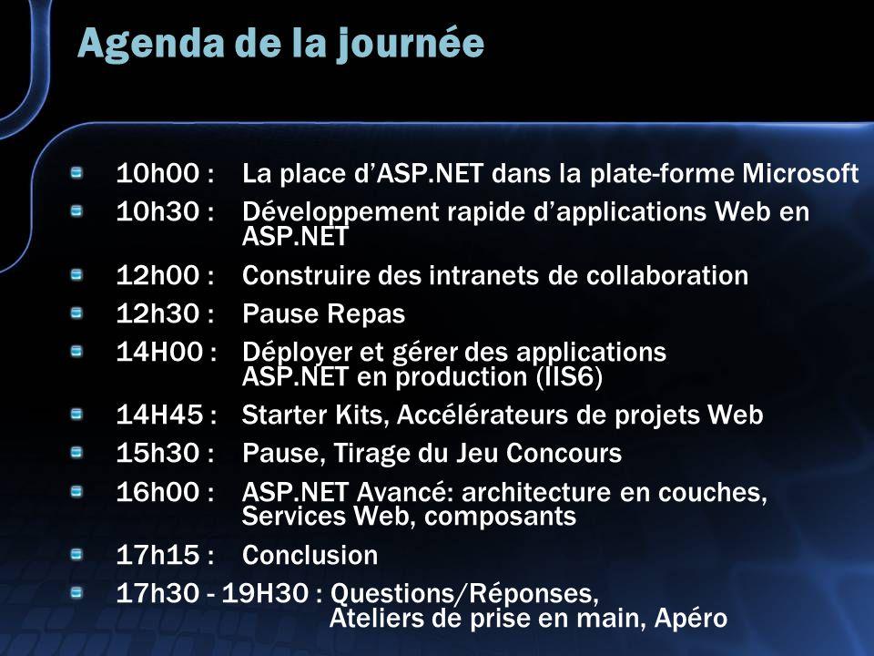 Agenda de la journée 10h00 : La place dASP.NET dans la plate-forme Microsoft 10h30 : Développement rapide dapplications Web en ASP.NET 12h00 : Construire des intranets de collaboration 12h30 : Pause Repas 14H00 : Déployer et gérer des applications ASP.NET en production (IIS6) 14H45 : Starter Kits, Accélérateurs de projets Web 15h30 : Pause, Tirage du Jeu Concours 16h00 : ASP.NET Avancé: architecture en couches, Services Web, composants 17h15 : Conclusion 17h30 - 19H30 : Questions/Réponses, Ateliers de prise en main, Apéro