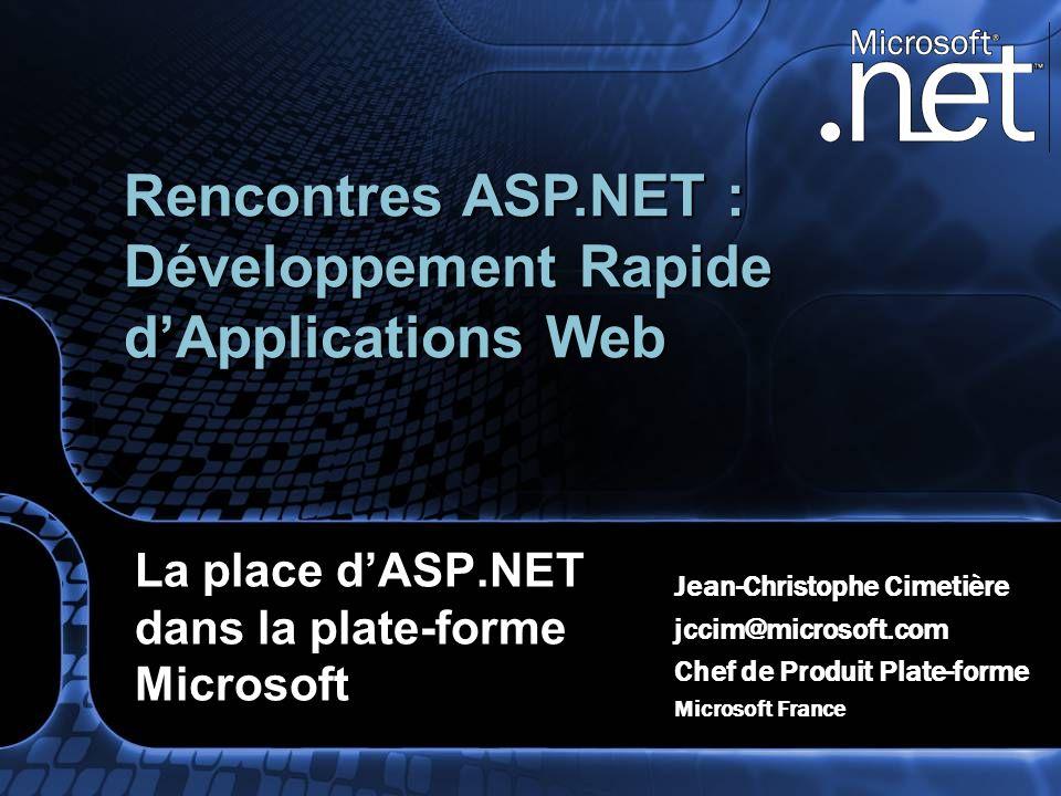 La place dASP.NET dans la plate-forme Microsoft Jean-Christophe Cimetière jccim@microsoft.com Chef de Produit Plate-forme Microsoft France Rencontres
