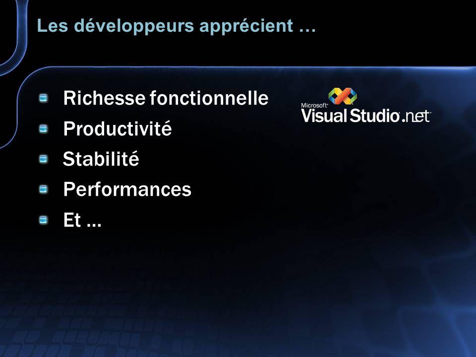 Les développeurs apprécient … Richesse fonctionnelle Productivité Stabilité Performances Et …