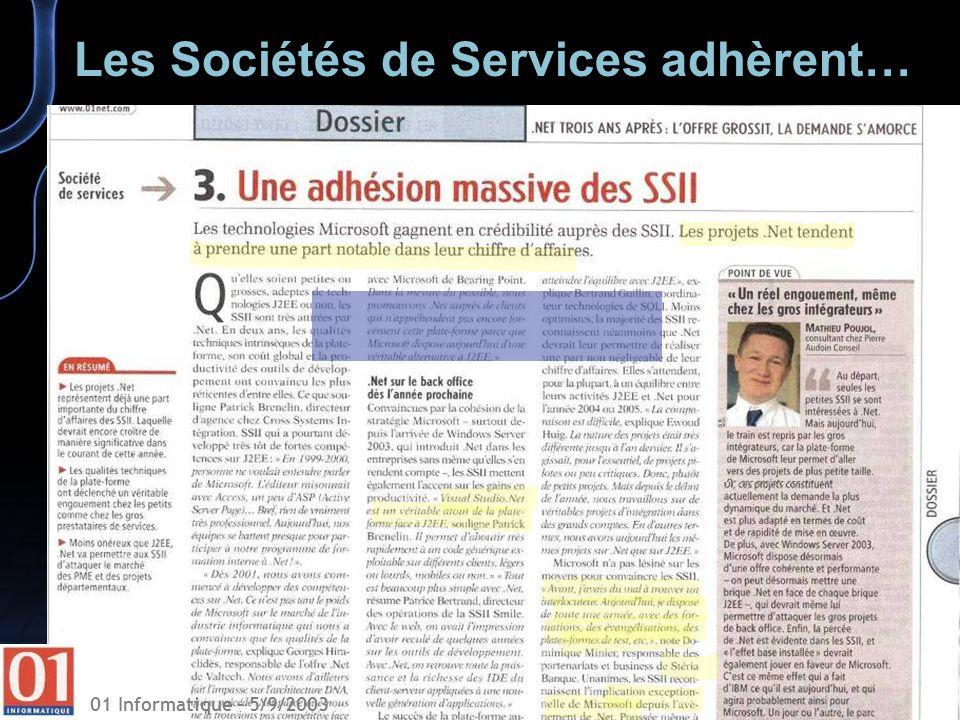 01 Informatique – 5/9/2003 Les Sociétés de Services adhèrent…