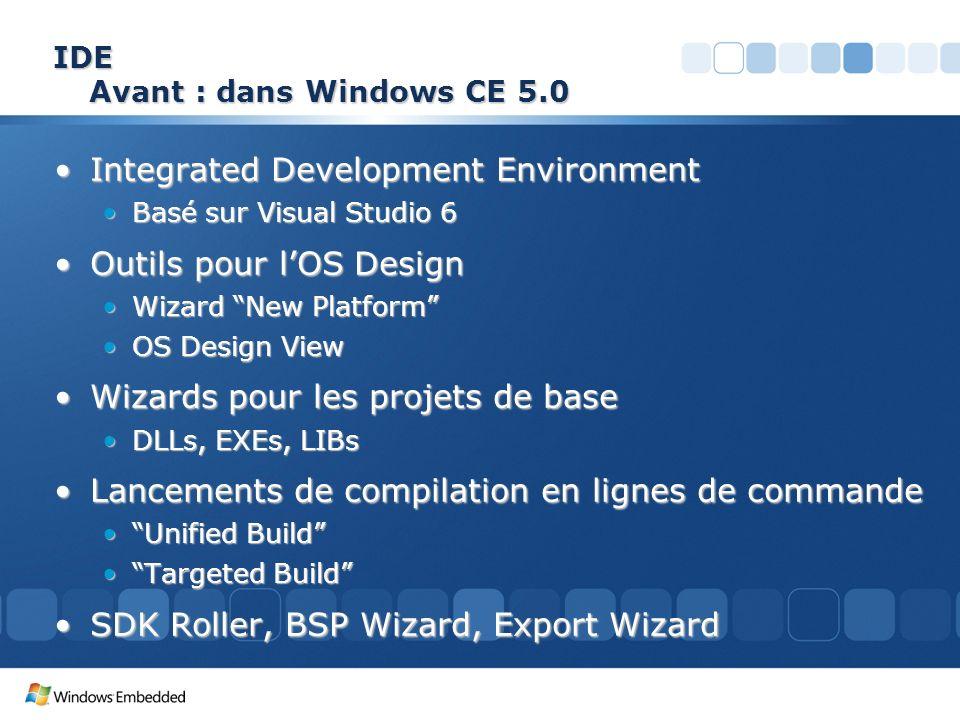 IDE Avant : dans Windows CE 5.0 Integrated Development EnvironmentIntegrated Development Environment Basé sur Visual Studio 6Basé sur Visual Studio 6