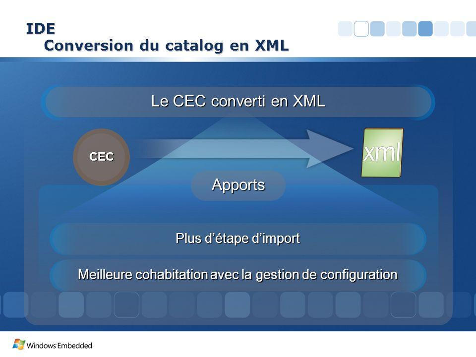 IDE Conversion du catalog en XML Apports Plus détape dimport Meilleure cohabitation avec la gestion de configuration Le CEC converti en XML CEC