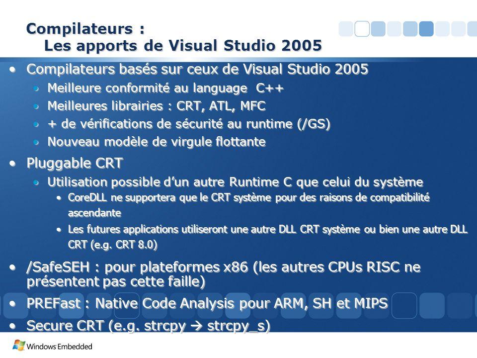 Compilateurs : Les apports de Visual Studio 2005 Compilateurs basés sur ceux de Visual Studio 2005Compilateurs basés sur ceux de Visual Studio 2005 Me
