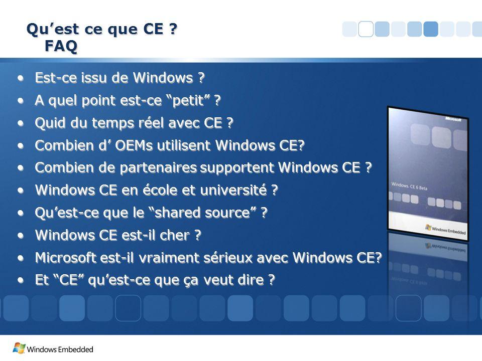 Quest ce que CE ? FAQ Est-ce issu de Windows ?Est-ce issu de Windows ? A quel point est-ce petit ?A quel point est-ce petit ? Quid du temps réel avec