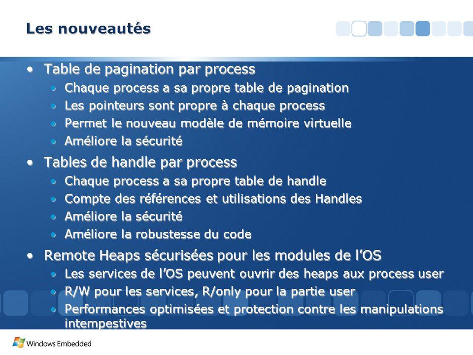Les nouveautés Table de pagination par processTable de pagination par process Chaque process a sa propre table de paginationChaque process a sa propre